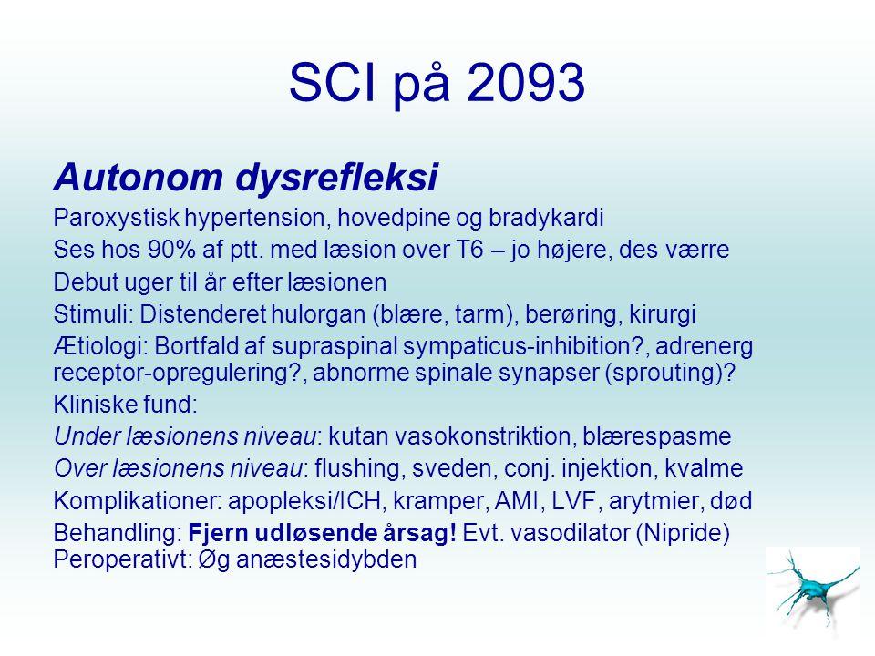 SCI på 2093 Autonom dysrefleksi