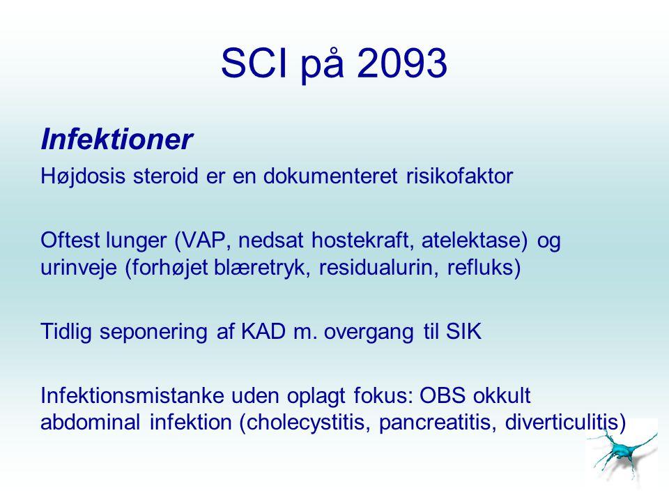 SCI på 2093 Infektioner. Højdosis steroid er en dokumenteret risikofaktor.