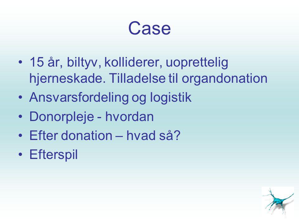Case 15 år, biltyv, kolliderer, uoprettelig hjerneskade. Tilladelse til organdonation. Ansvarsfordeling og logistik.