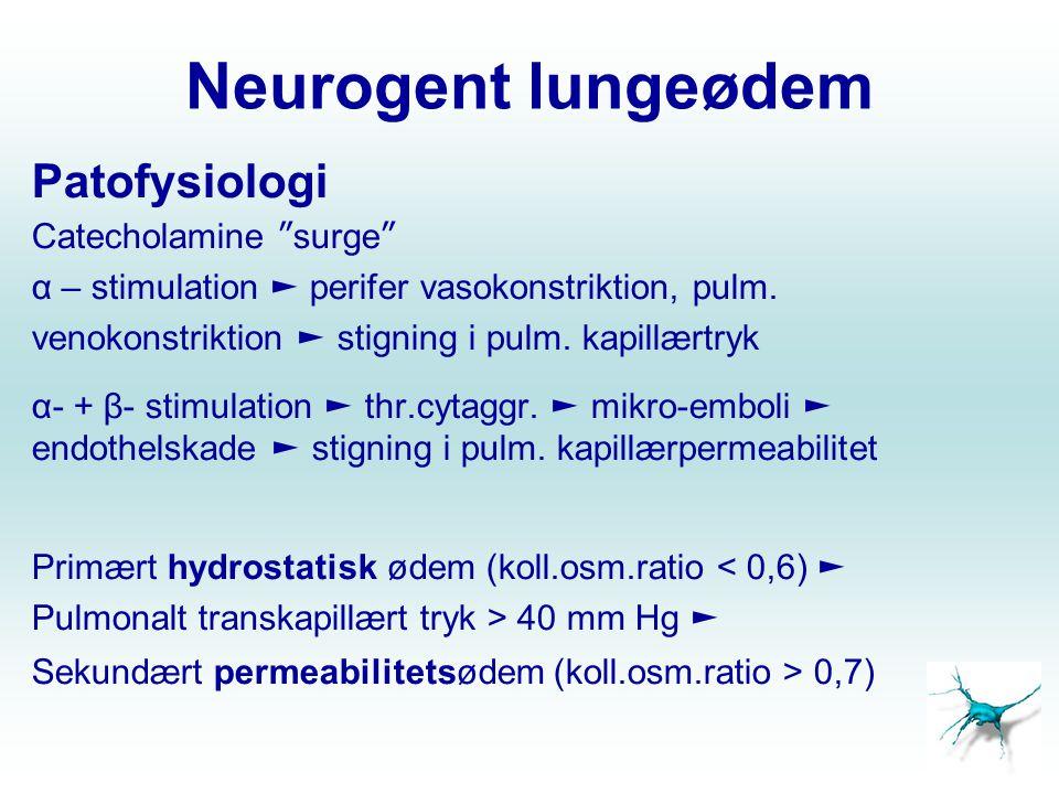 Neurogent lungeødem Patofysiologi Catecholamine surge
