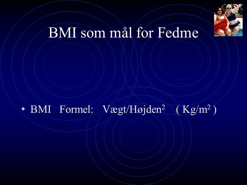 BMI som mål for Fedme BMI Formel: Vægt/Højden2 ( Kg/m2 )