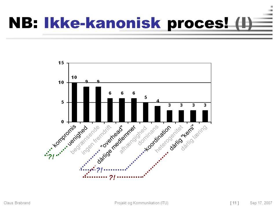 NB: Ikke-kanonisk proces! (I)
