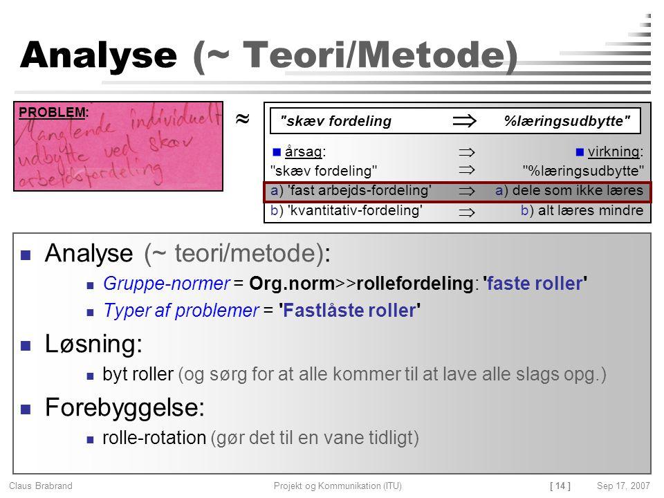 Analyse (~ Teori/Metode)