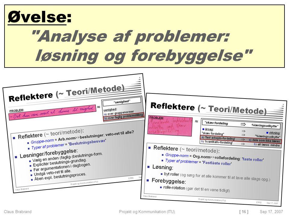 Øvelse: Analyse af problemer: løsning og forebyggelse