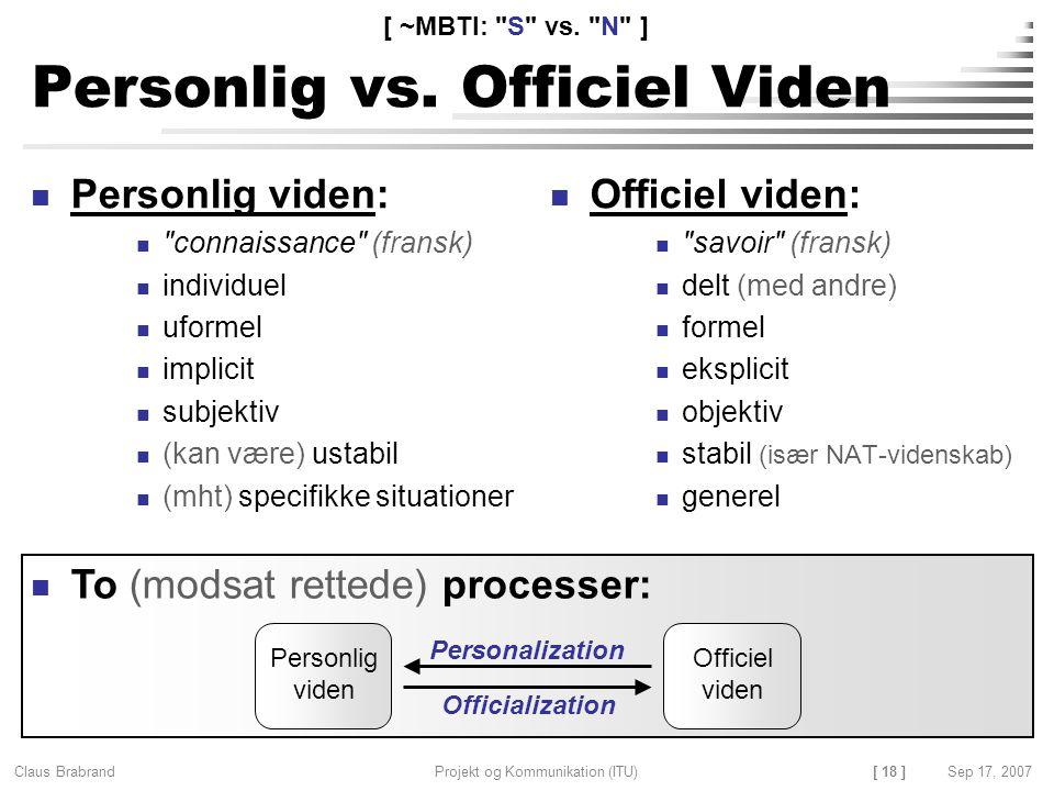 Personlig vs. Officiel Viden