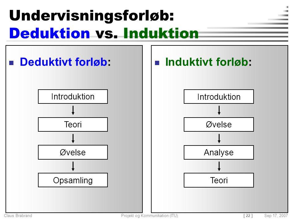 Undervisningsforløb: Deduktion vs. Induktion