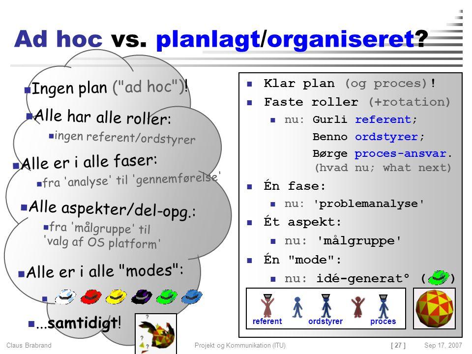 Ad hoc vs. planlagt/organiseret