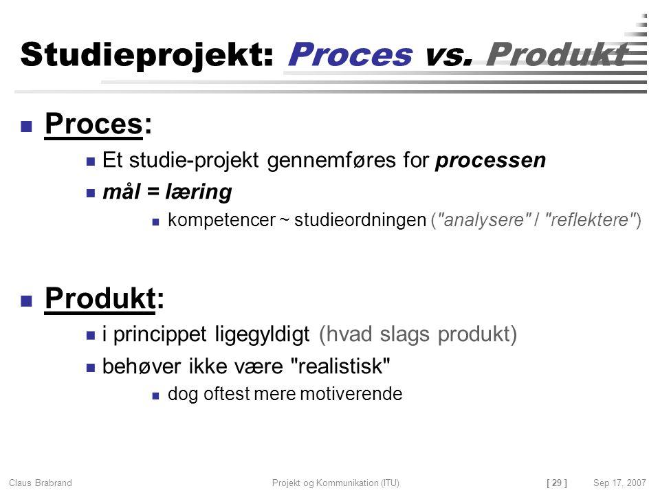 Studieprojekt: Proces vs. Produkt