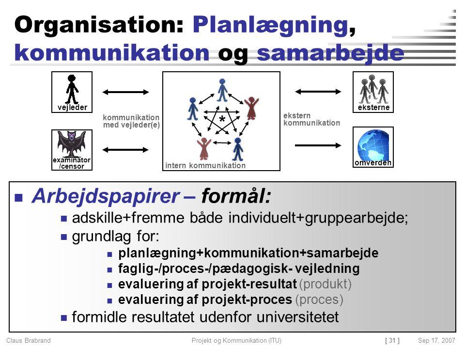 Organisation: Planlægning, kommunikation og samarbejde