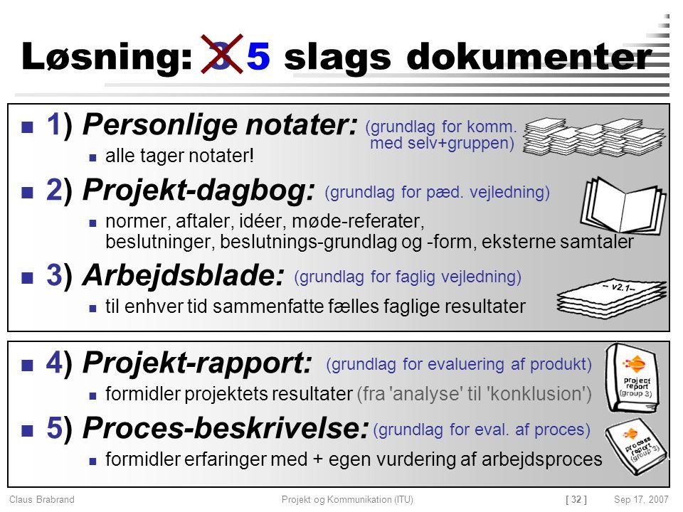 Løsning: 3 slags dokumenter