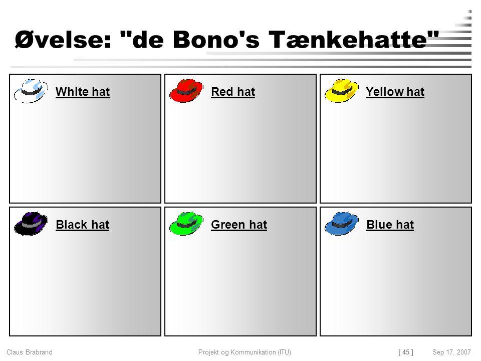 Øvelse: de Bono s Tænkehatte