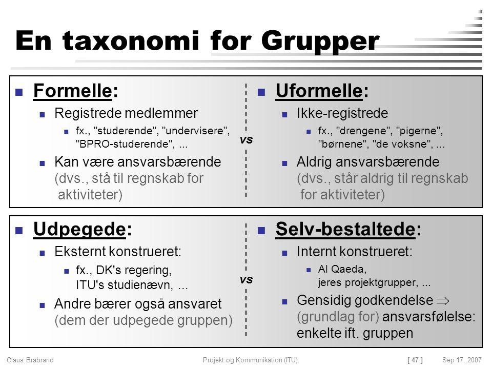 En taxonomi for Grupper