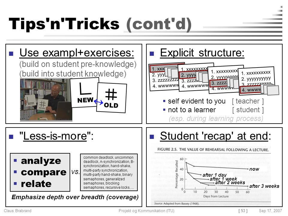 Tips n Tricks (cont d) Use exampl+exercises: (build on student pre-knowledge) (build into student knowledge)