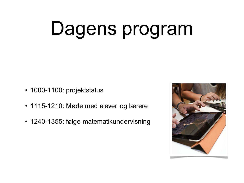 Dagens program 1000-1100: projektstatus