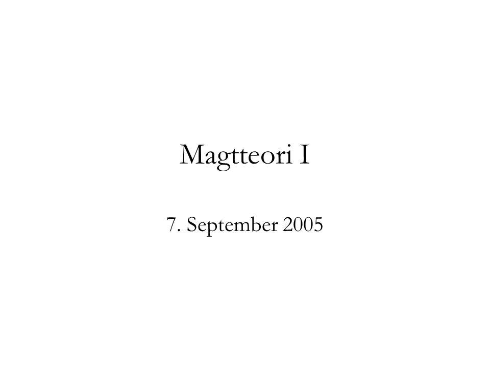 Magtteori I 7. September 2005