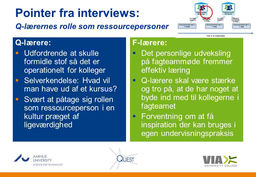 Pointer fra interviews: Q-lærernes rolle som ressourcepersoner