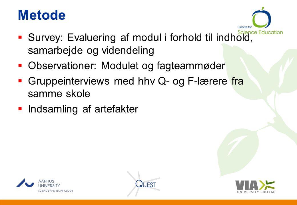 Metode Survey: Evaluering af modul i forhold til indhold, samarbejde og videndeling. Observationer: Modulet og fagteammøder.