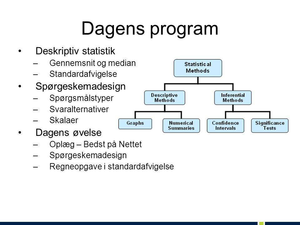 Dagens program Deskriptiv statistik Spørgeskemadesign Dagens øvelse
