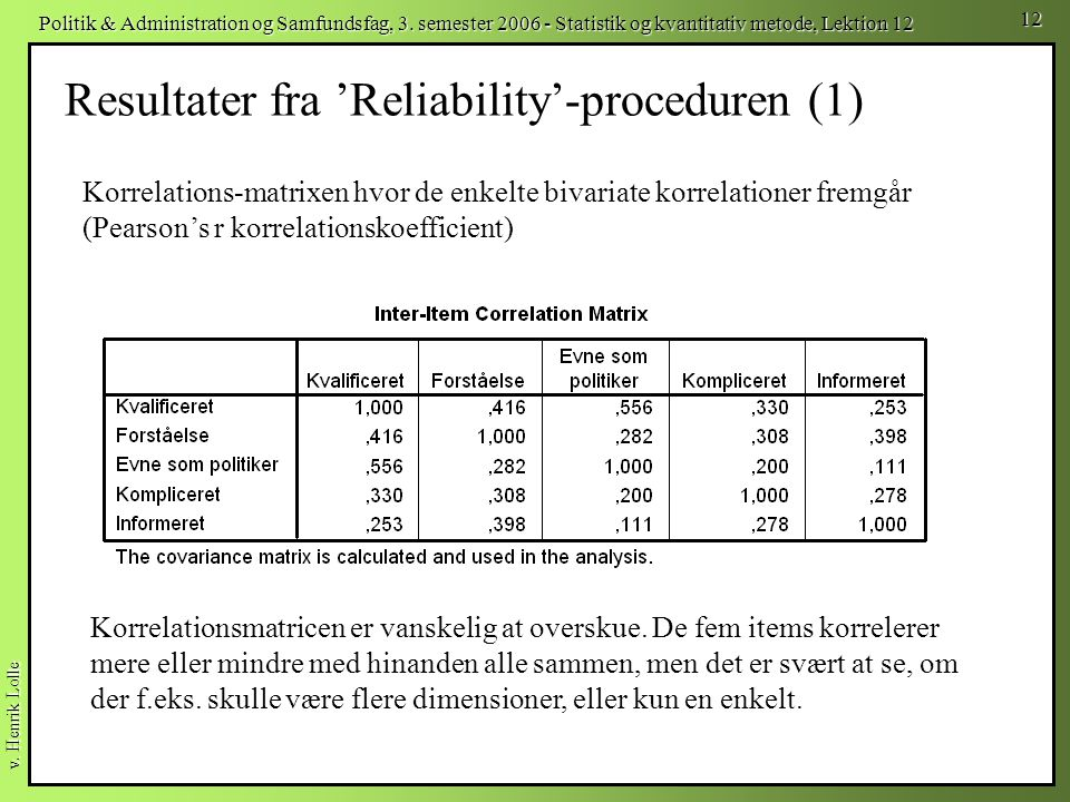 Resultater fra 'Reliability'-proceduren (1)