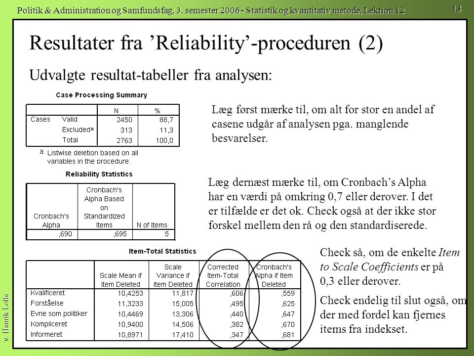 Resultater fra 'Reliability'-proceduren (2)