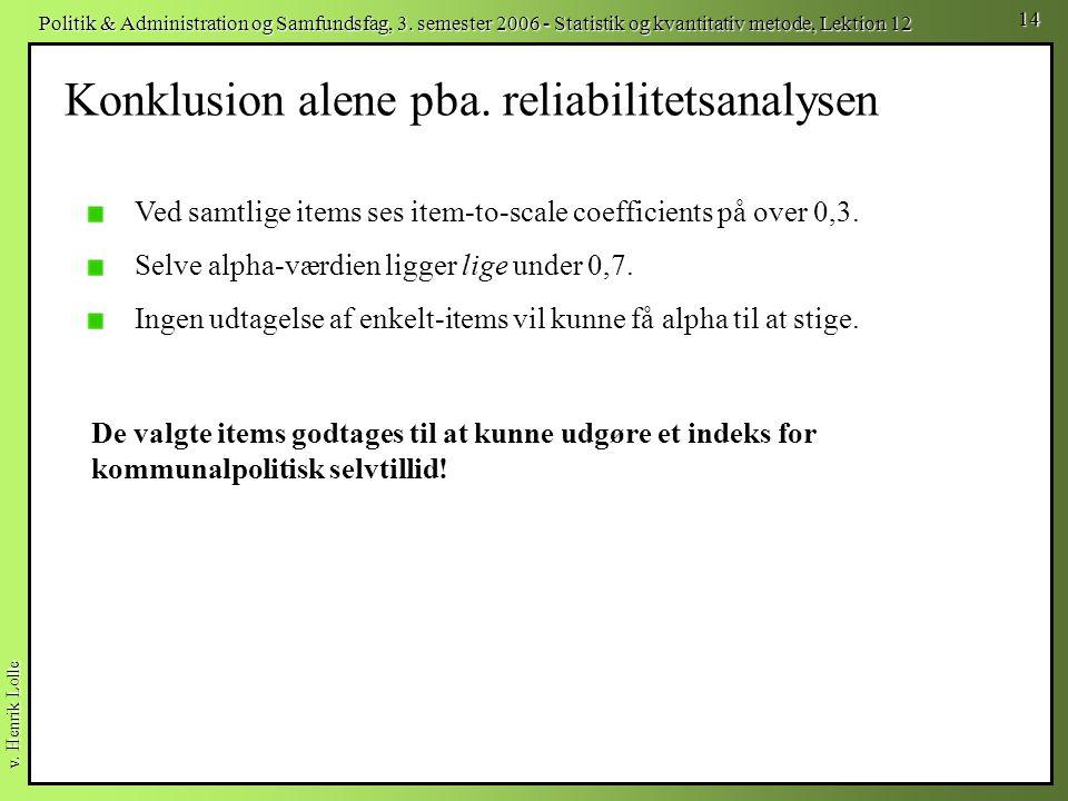 Konklusion alene pba. reliabilitetsanalysen
