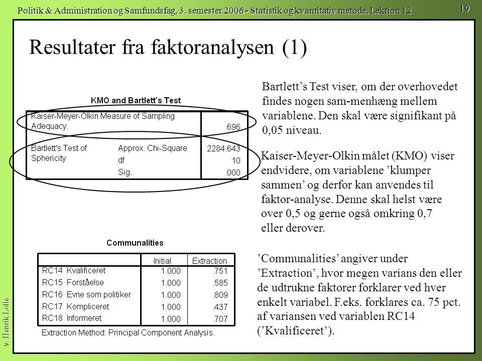 Resultater fra faktoranalysen (1)