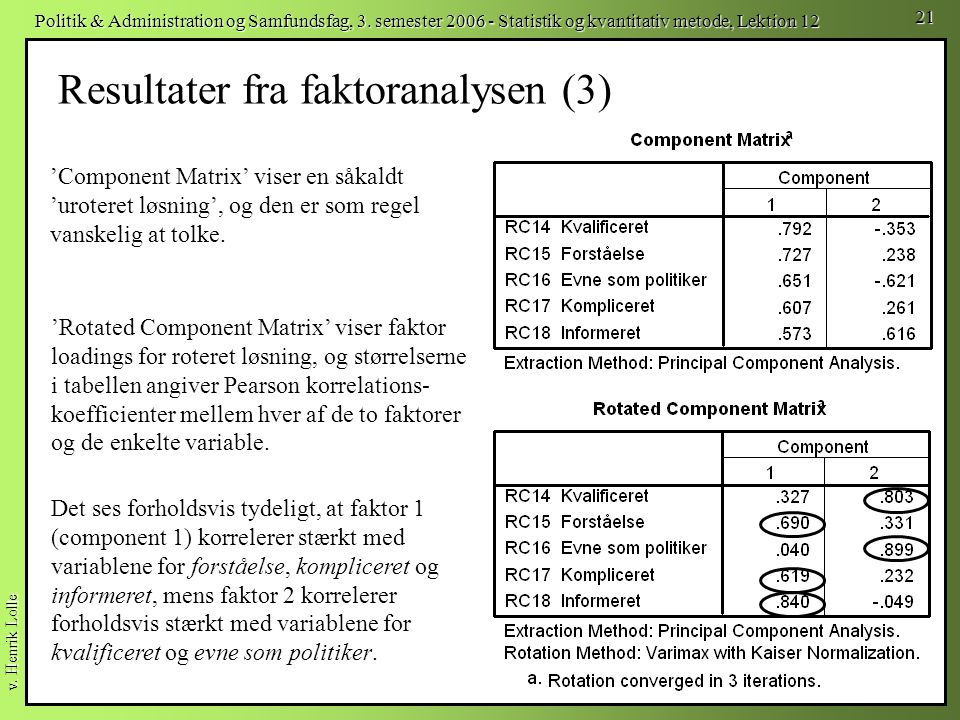 Resultater fra faktoranalysen (3)
