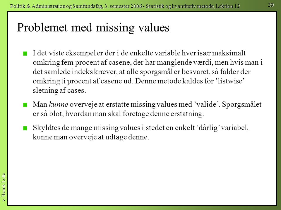Problemet med missing values
