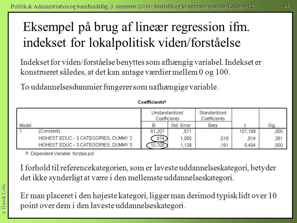 Eksempel på brug af lineær regression ifm