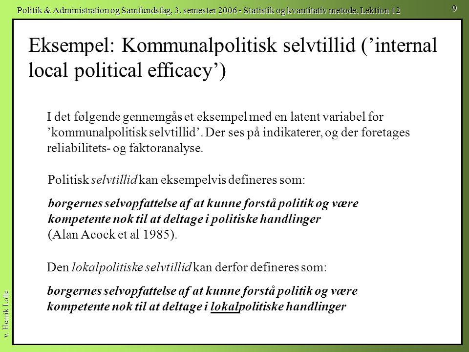 Eksempel: Kommunalpolitisk selvtillid ('internal local political efficacy')