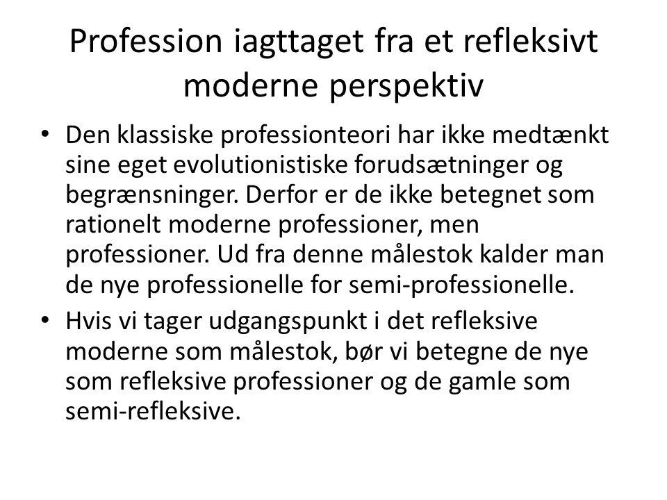 Profession iagttaget fra et refleksivt moderne perspektiv