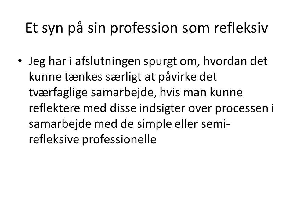 Et syn på sin profession som refleksiv