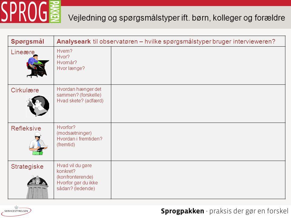 Vejledning og spørgsmålstyper ift. børn, kolleger og forældre