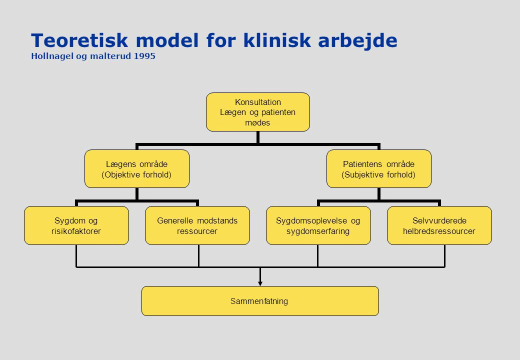 Teoretisk model for klinisk arbejde Hollnagel og malterud 1995