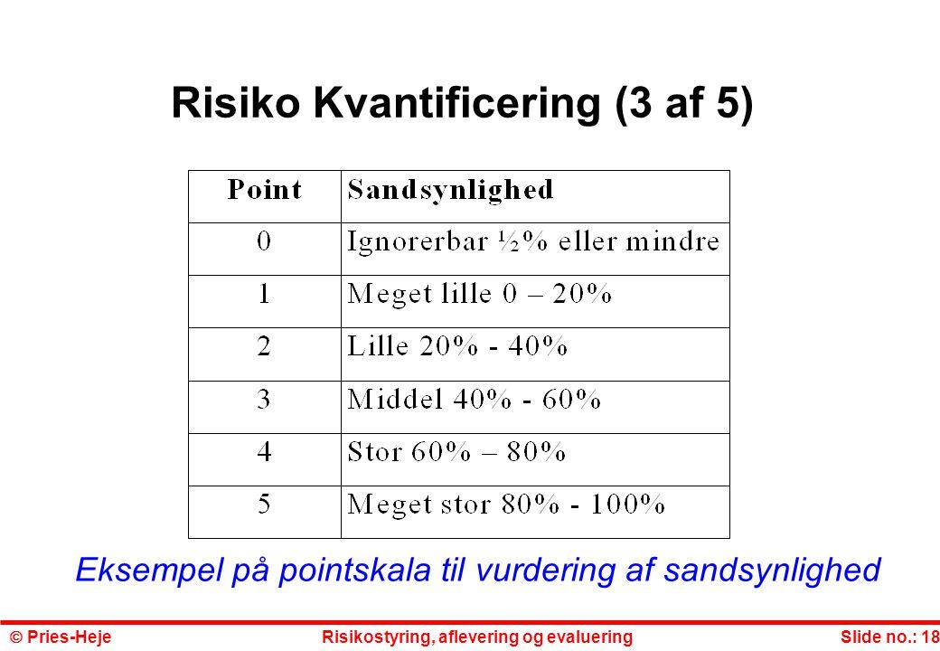 Risiko Kvantificering (3 af 5)