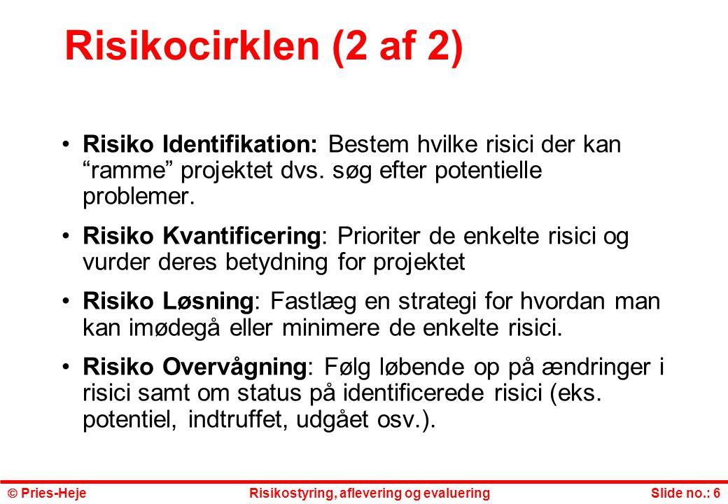 Risikocirklen (2 af 2) Risiko Identifikation: Bestem hvilke risici der kan ramme projektet dvs. søg efter potentielle problemer.