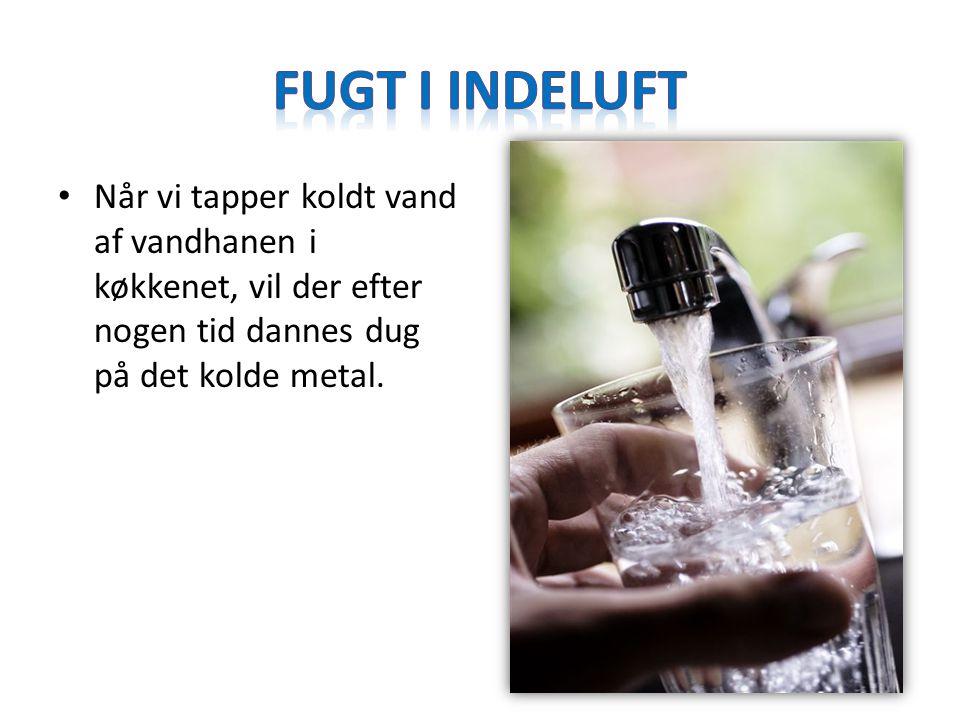 Fugt i indeluft Når vi tapper koldt vand af vandhanen i køkkenet, vil der efter nogen tid dannes dug på det kolde metal.