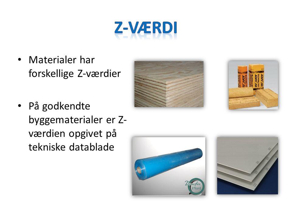 Z-Værdi Materialer har forskellige Z-værdier