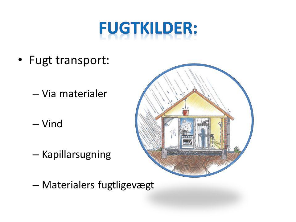 Fugtkilder: Fugt transport: Via materialer Vind Kapillarsugning