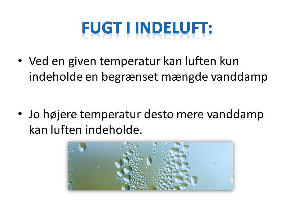 Fugt i indeluft: Ved en given temperatur kan luften kun indeholde en begrænset mængde vanddamp.