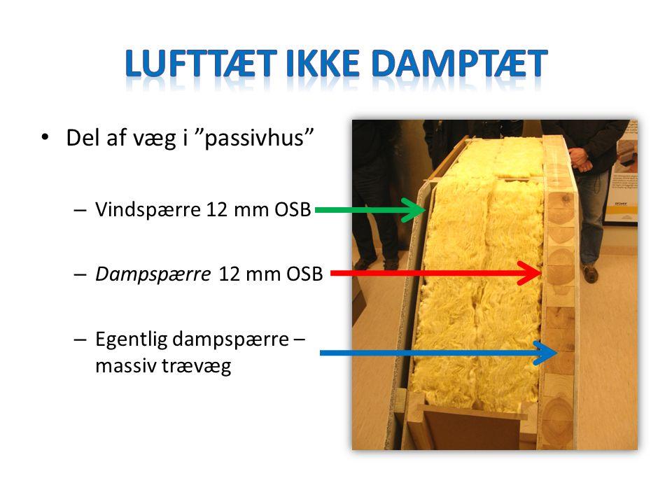 Lufttæt ikke damptæt Del af væg i passivhus Vindspærre 12 mm OSB