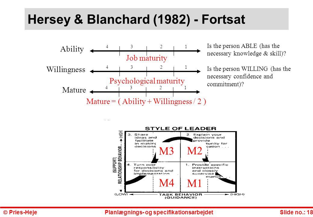 Hersey & Blanchard (1982) - Fortsat