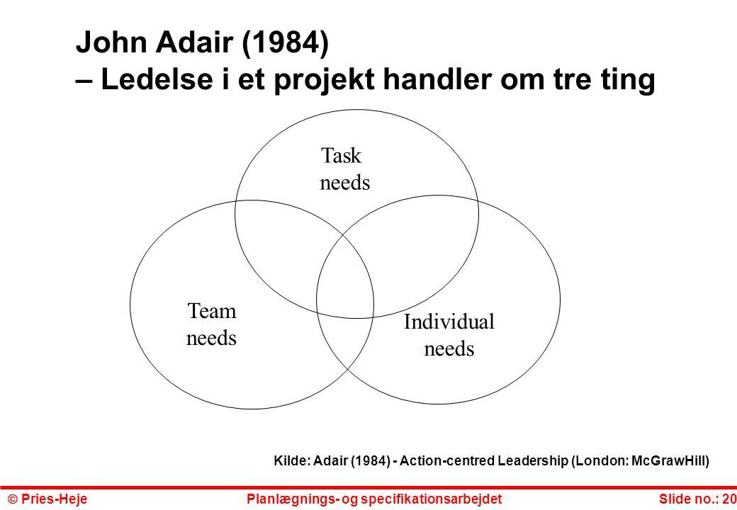 John Adair (1984) – Ledelse i et projekt handler om tre ting