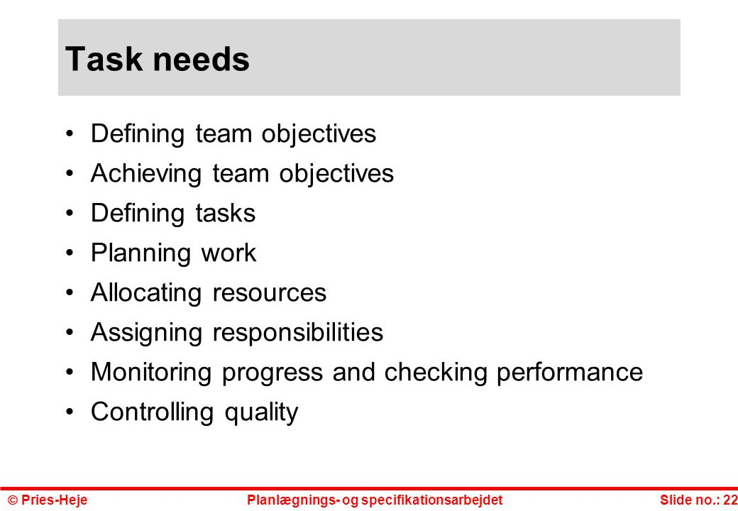 Task needs Defining team objectives Achieving team objectives
