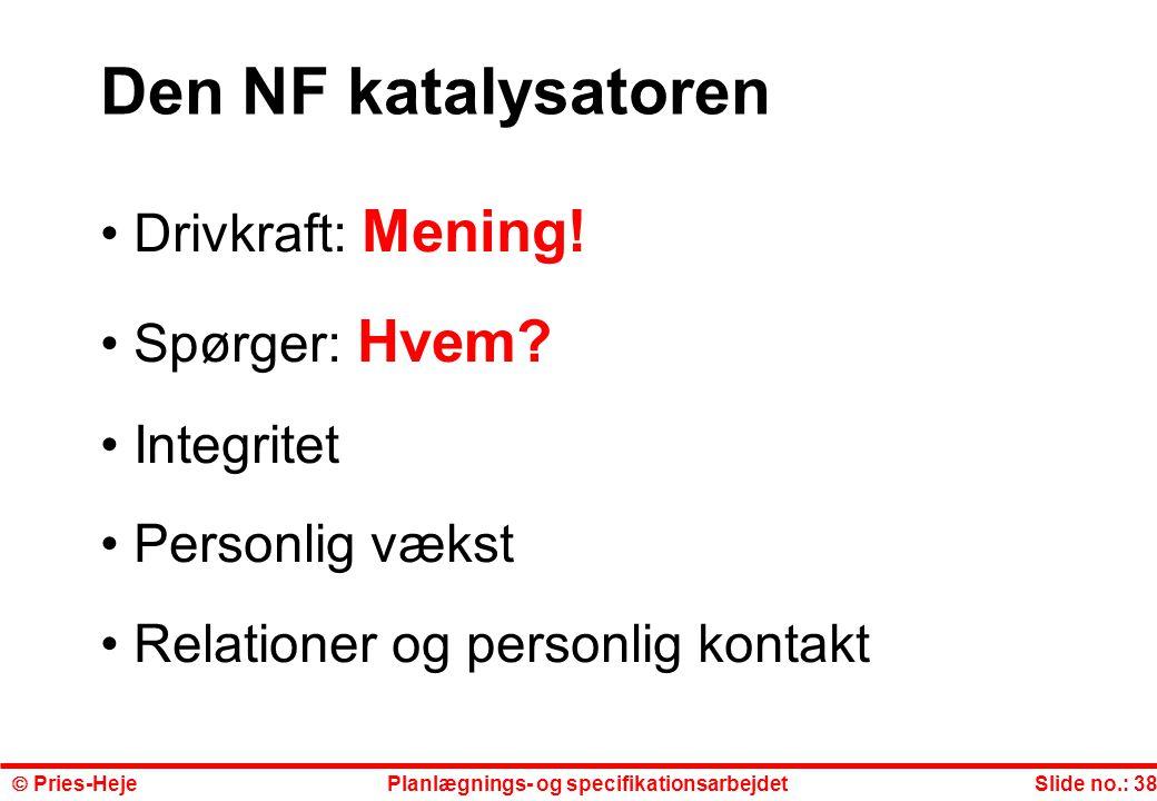 Den NF katalysatoren Drivkraft: Mening! Spørger: Hvem Integritet