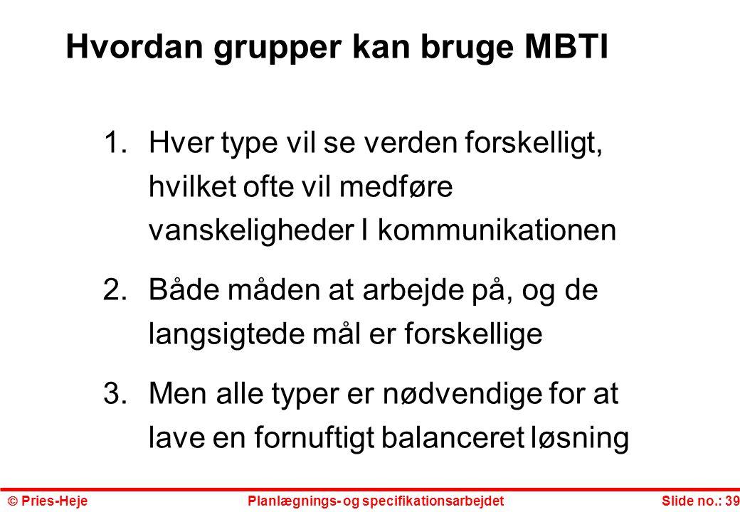 Hvordan grupper kan bruge MBTI