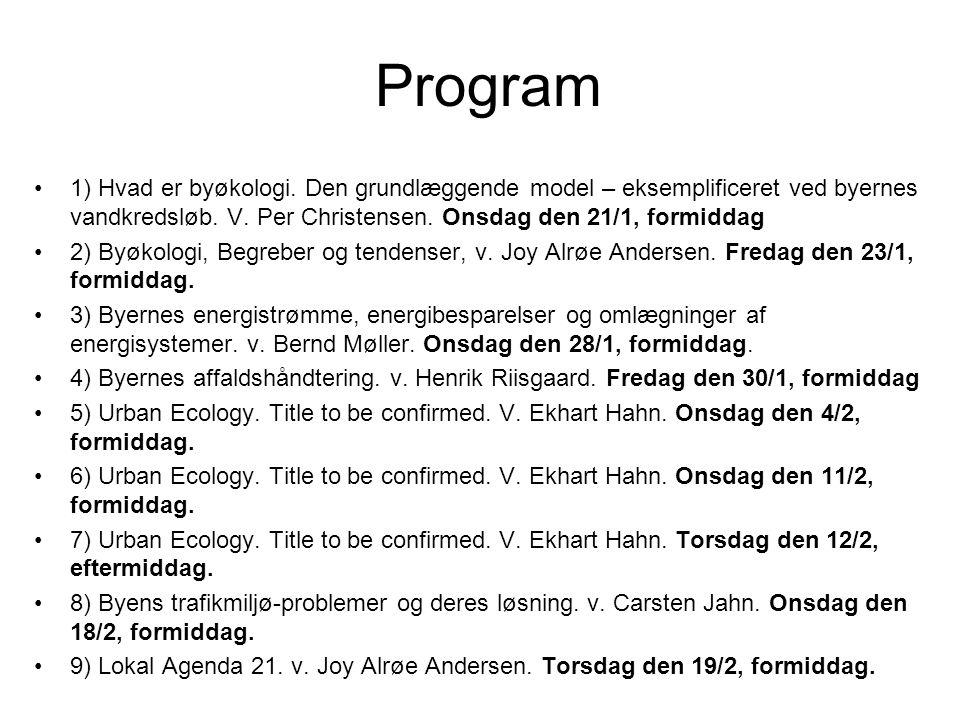 Program 1) Hvad er byøkologi. Den grundlæggende model – eksemplificeret ved byernes vandkredsløb. V. Per Christensen. Onsdag den 21/1, formiddag.
