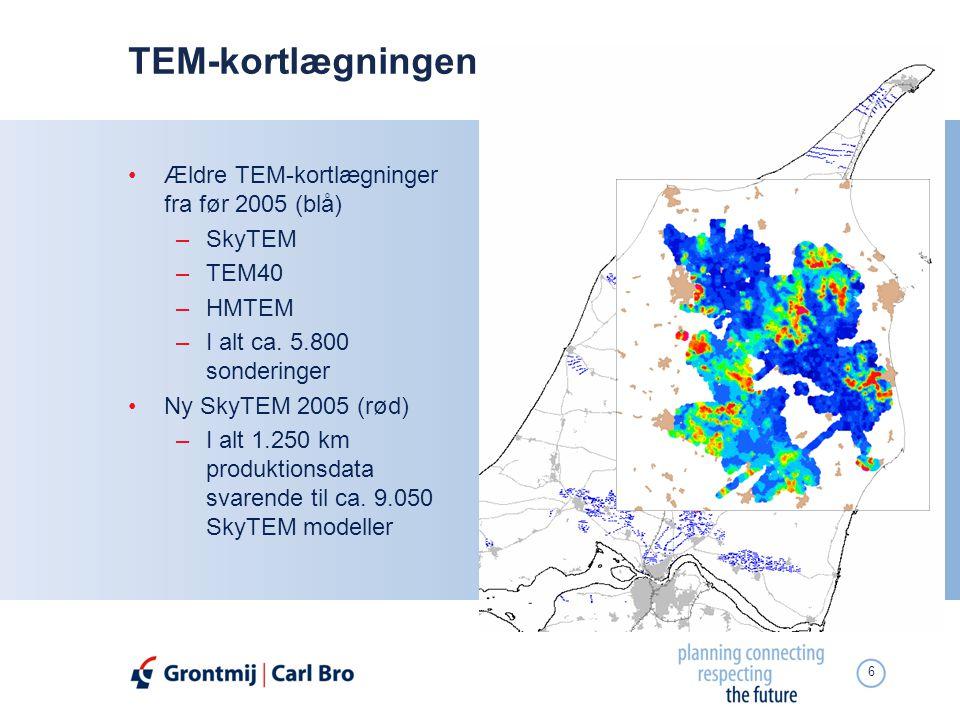 TEM-kortlægningen Ældre TEM-kortlægninger fra før 2005 (blå) SkyTEM