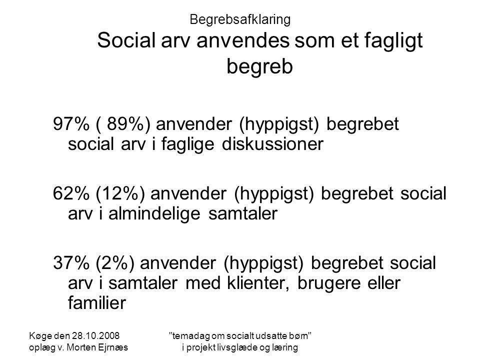 Begrebsafklaring Social arv anvendes som et fagligt begreb