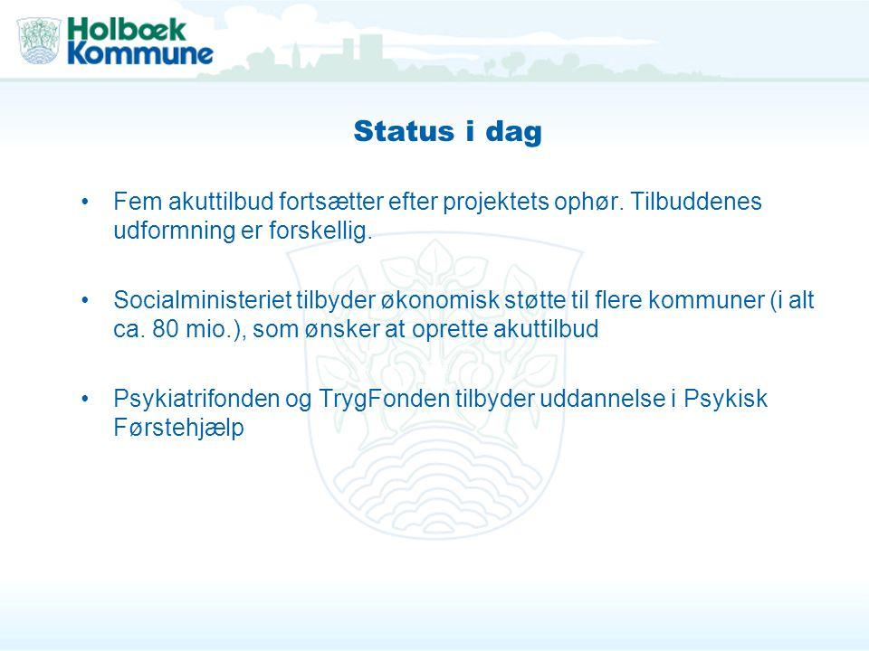 Status i dag Fem akuttilbud fortsætter efter projektets ophør. Tilbuddenes udformning er forskellig.